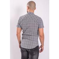 Y Short sleeve checkered stretch shirt Grey