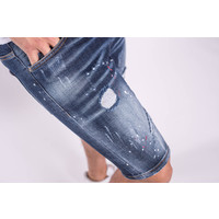 Y Jeans stretch shorts Dark blue washed with red splashes