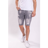 Y Jeans stretch shorts Grey washed splashes green