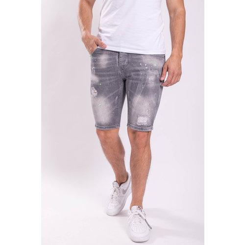 Y Jeans stretch shorts Grey washed splashes green