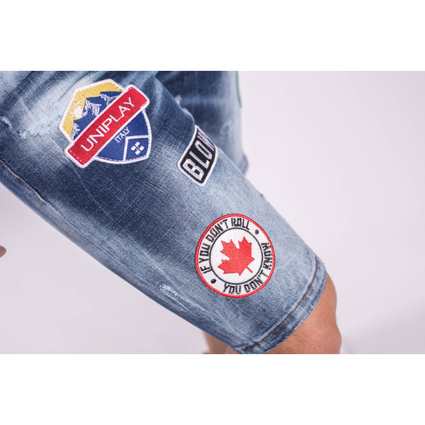 Y Jeans stretch shorts Dark blue washed Patches