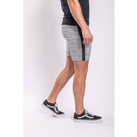 Y Checkered stretch Shorts Black striped Light GREY