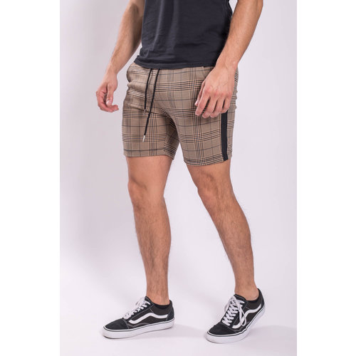 Y Checkered stretch Shorts Black striped Brown