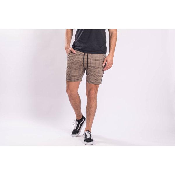 Y Checkered stretch Shorts Black striped Brown
