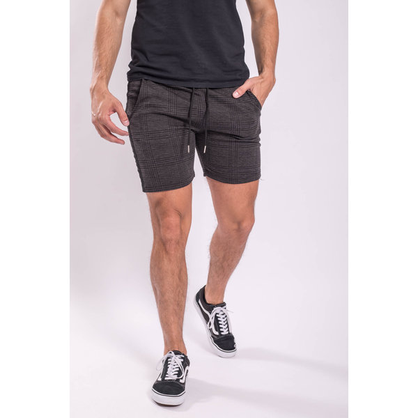 Y Checkered stretch Shorts Black striped Dark GREY