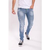 Y Skinny fit stretch jeans Light blue / green splashes