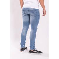 Y Skinny fit stretch jeans Light blue / Orange splashes