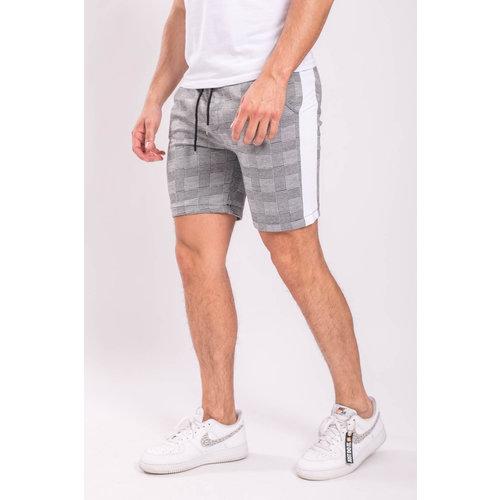 Y Checkered Shorts Grey / White striped