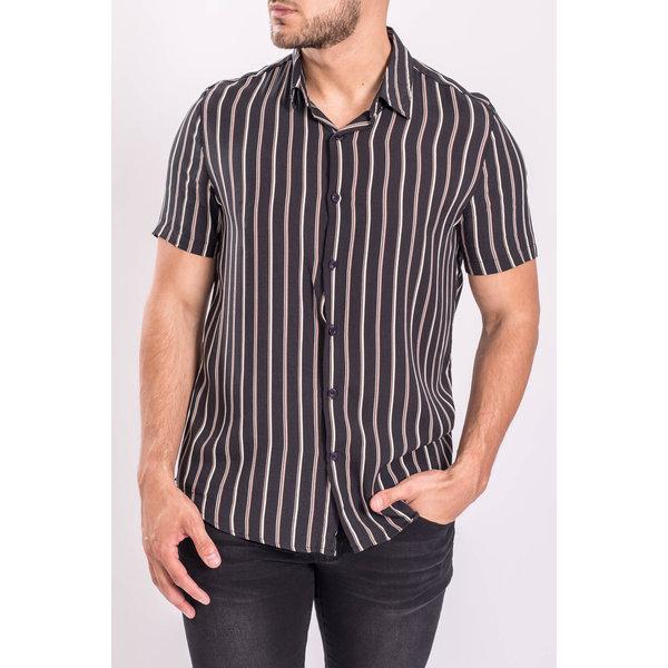 Y FR Short sleeve blouse bm1043C Black - Beige / Brown Stripes