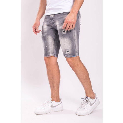 Y Jeans stretch shorts Grey washed splashes black/white