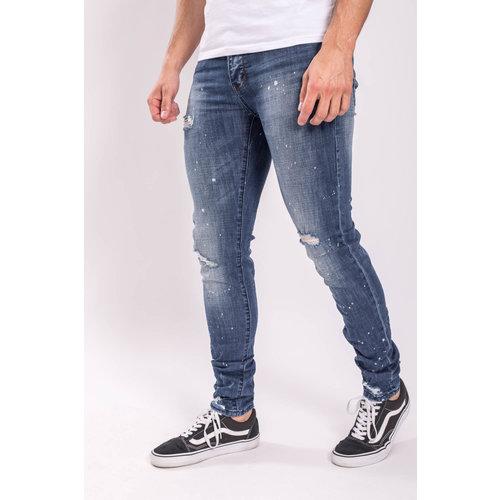 Y Skinny fit stretch jeans white splashes BLUE