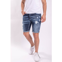 Y Jeans stretch shorts dark blue / red splashes