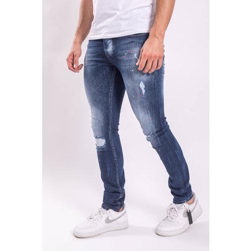 Y Skinny fit stretch jeans Dark blue / Red splashes