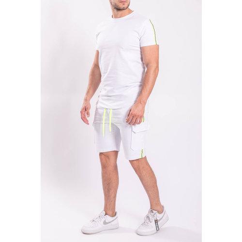 Y 2 piece set T-shirt + Shorts White neon reflect stripe