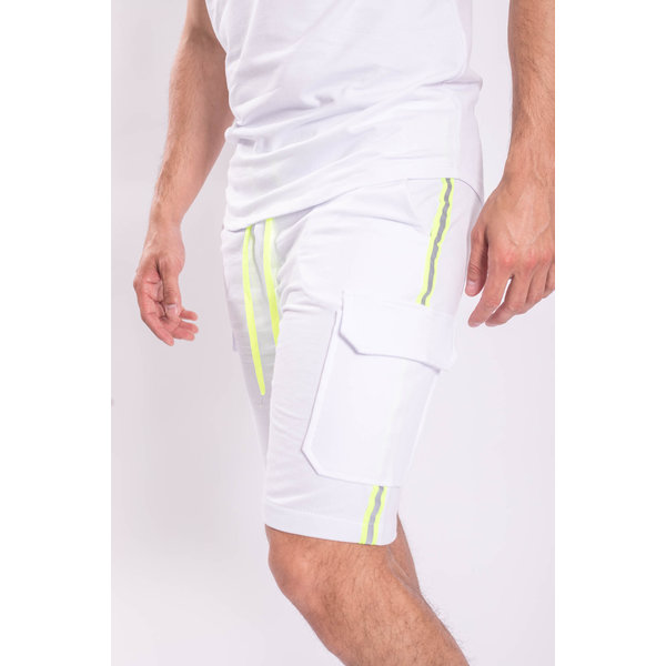 Y 2 piece set T-shirt + Shorts White neon reflect stripe