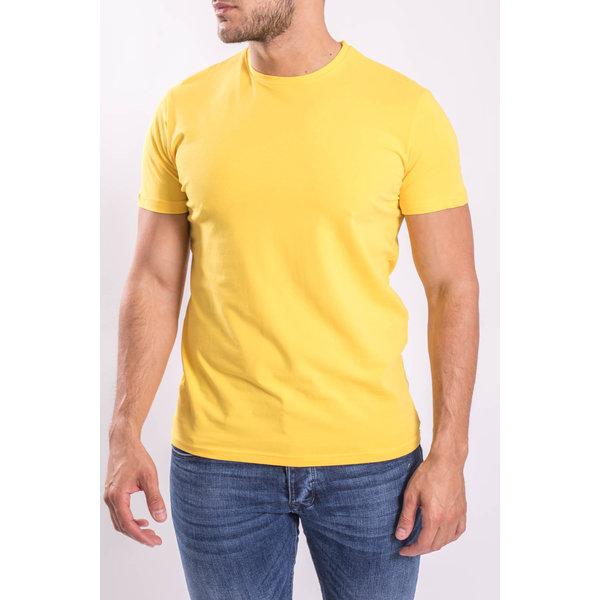 Y Basic stretch shirts round neck Yellow
