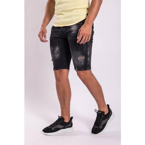 Y Jeans stretch shorts Black yellow splashes