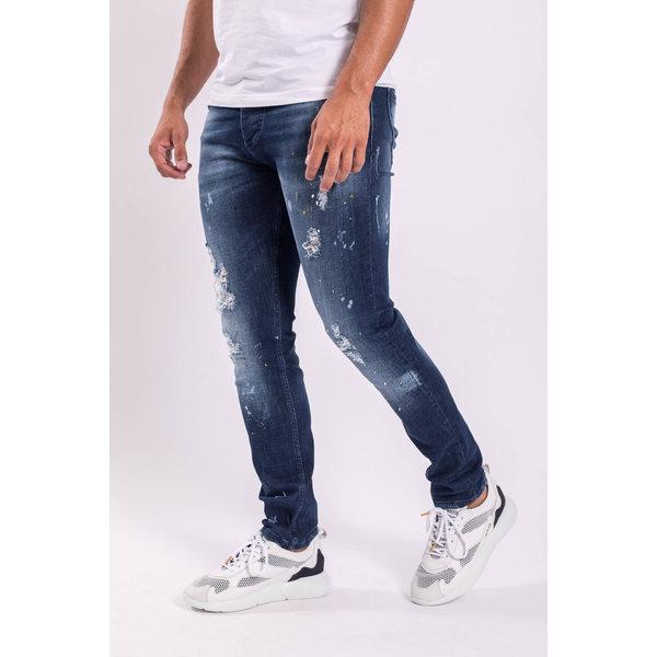 Y Skinny fit stretch jeans Dark blue white/yellow splashes