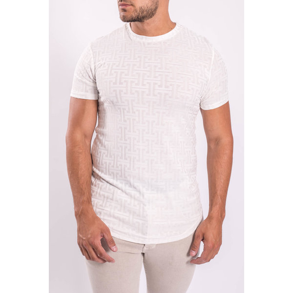 Y T-shirt white patterned White