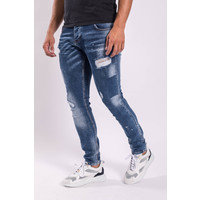 Y Skinny fit stretch jeans Blue washed shredz / splashes