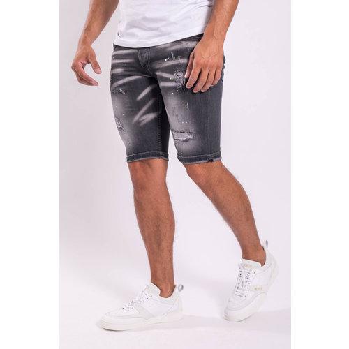 Y Jeans stretch shorts Grey white/lime splashes