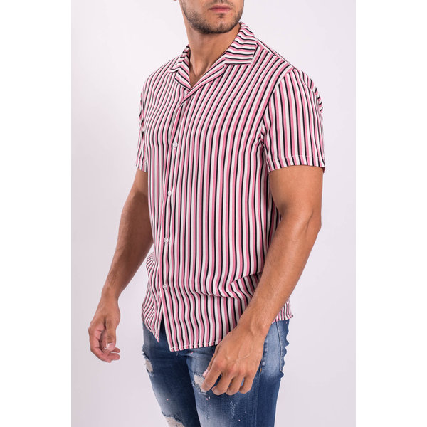 Y Blouse short sleeve striped pink / white