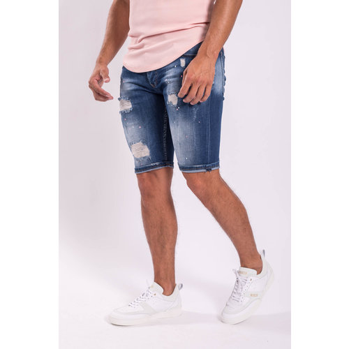 Y Jeans stretch shorts Blue washed / shreds / pink splashes