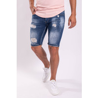 Y Jeans stretch shorts Blue washed / shreds / pink splashes