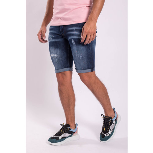 Y Jeans stretch shorts Dark Blue washed pink splashes