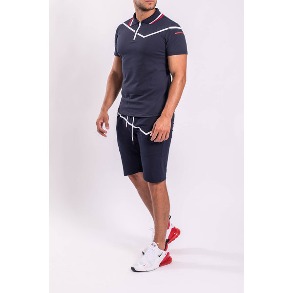 Y Two Piece set - Polo + Shorts Dark blue / white / red