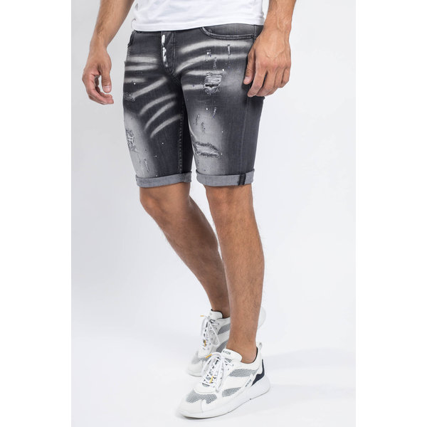 Y Jeans stretch shorts Grey with splashes