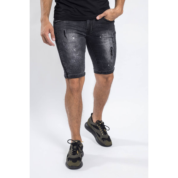 Y Jeans stretch shorts Dark grey with splashes