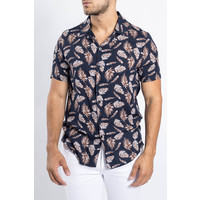 Y Summer blouse short sleeve Feathers Navy