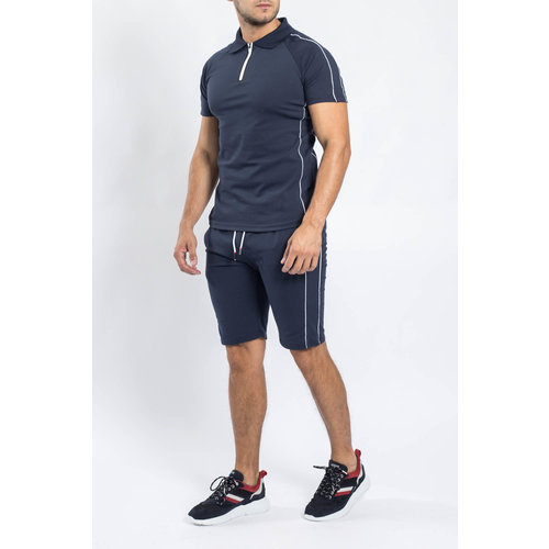Y Two Piece set Polo + Shorts Dark blue / White