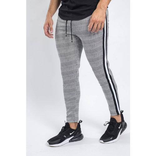 Y Track pants checkered grey Black/white striped