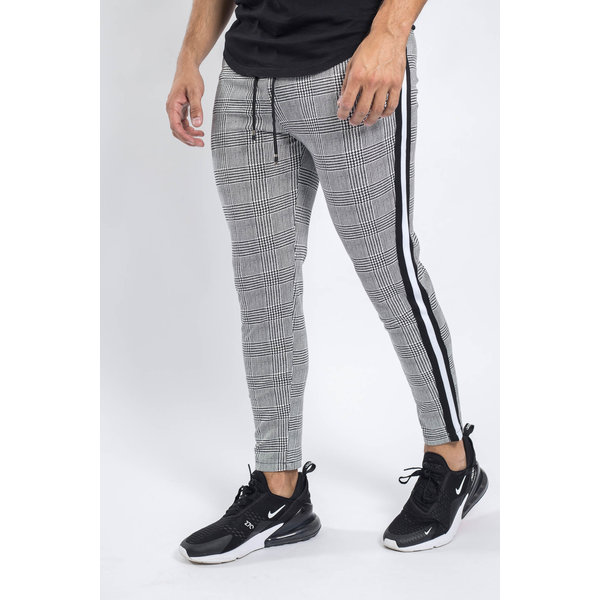 Y Track pants checkered grey Black/white striped