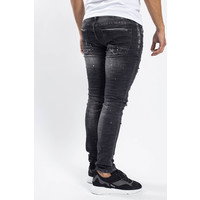 Y Skinny Fit stretch jeans Black with red/white splashes
