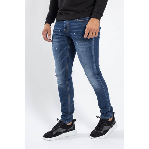 Y Skinny Fit stretch jeans Dark Blue white/black splashes