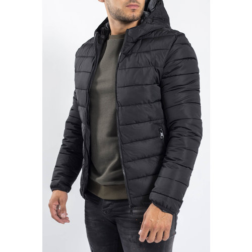Y Down Jacket Hooded Black
