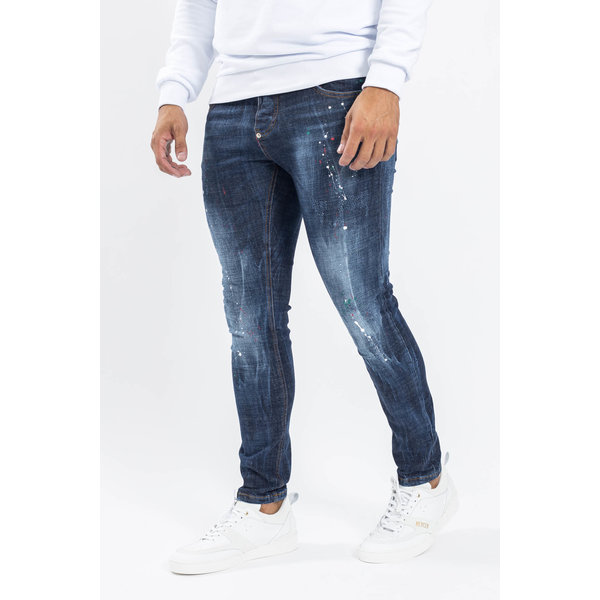 Y Skinny fit stretch jeans Dark Blue with red/white/green splashes