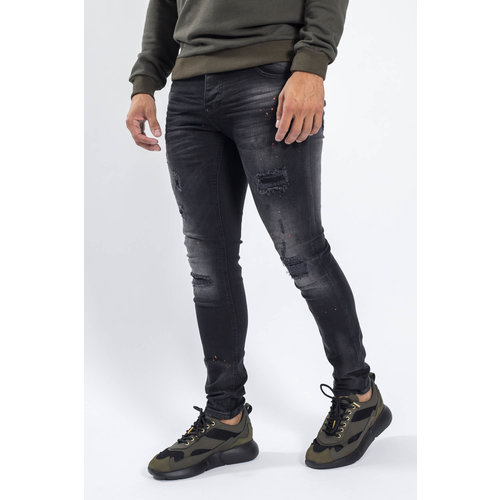 Y Skinny fit stretch jeans Black with splashes