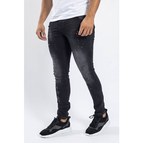 Y Skinny fit stretch jeans Black with pink/white splashes