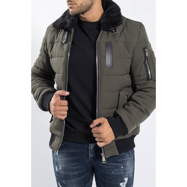 Y Pilot Bomber Jacket Green with Black Fur