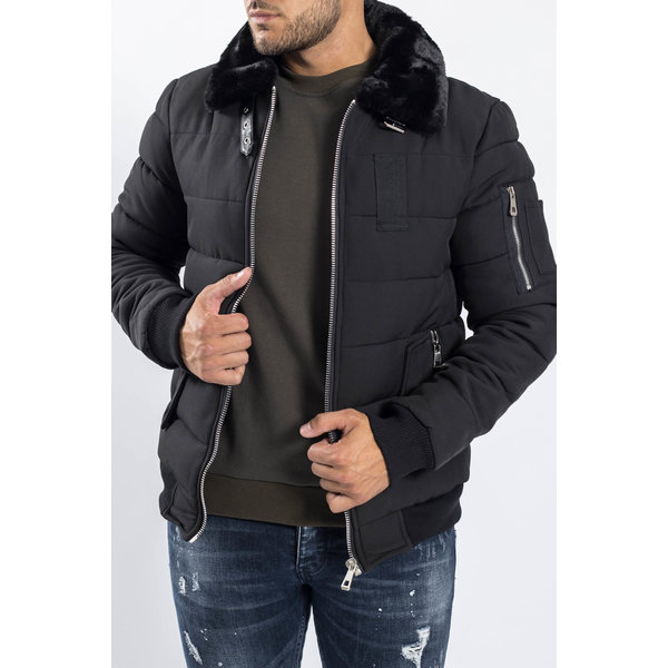 Y Pilot Bomber Jacket Black with Black Fur