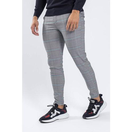 Y Checkered Stretch Pantalon Grey/blue