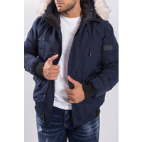 Y Winterjas short  with faux fur Navy
