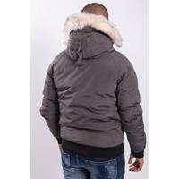 Y Winterjas short with faux fur Grey