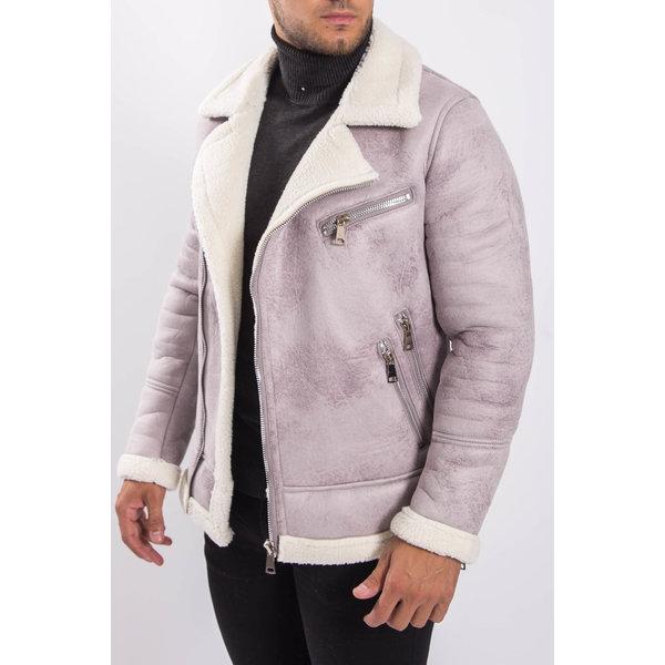 Y Aviator Lammy Jacket suede look Grey / White