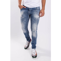 Y Skinny fit stretch jeans Blue with pink / white / orange splashes