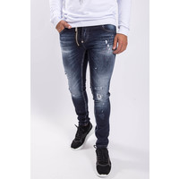 Y Skinny fit stretch jeans zipper Dark Blue Red / white splashes
